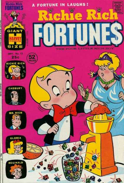 Richie Rich Fortunes 12 - Lots Of Jewls - Fat Lady - 52 Pages - Big Red Bow Tie - Oranges