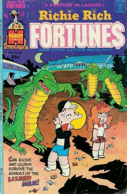 Richie Rich Fortunes 22 - Richie Rich Get Attacked By Lizard Men - Harvey Comics - Richie Rich And His Gloria - Outer Space Lizard Men - The Poor Little Rich Boy