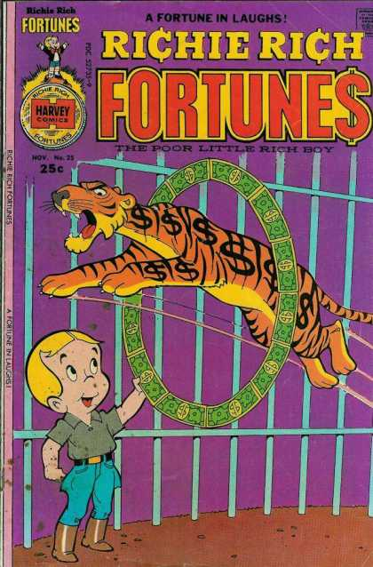 Richie Rich Fortunes 25 - Boy - Tiger Jumping Through Money Circle - Cage - The Poor Little Rich Boy - A Fortune In Laughs