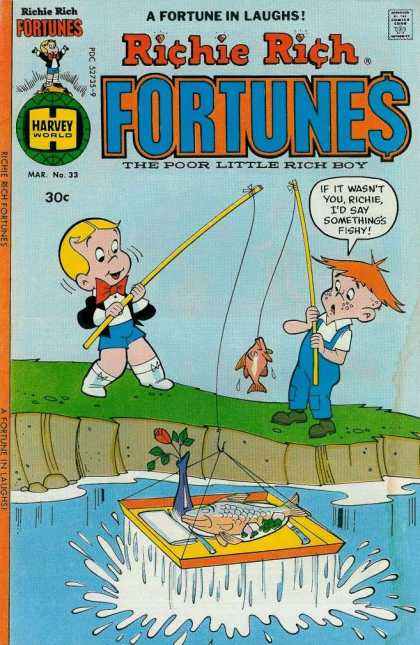 Richie Rich Fortunes 33 - A Fortune In Laughs - Approved By The Comics Code Authority - Harvey World - Fish - The Poor Litlle Rich Boy