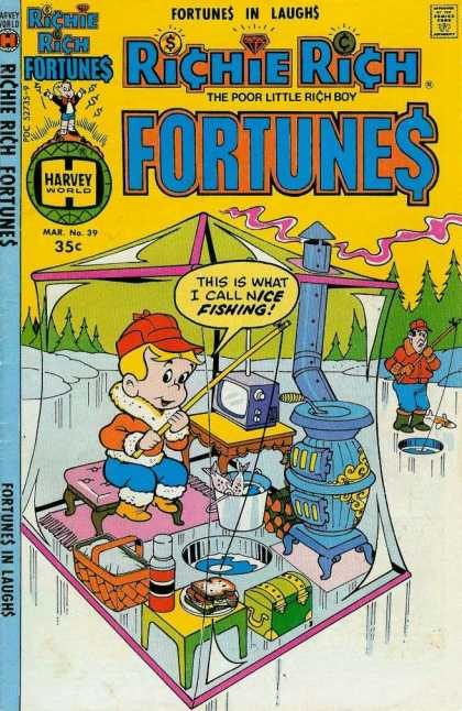 Richie Rich Fortunes 39 - The Poor Little Rich Boy - Harvey World - Approved By The Comics Code Authority - This Is What I Call Nice Fishing - Water