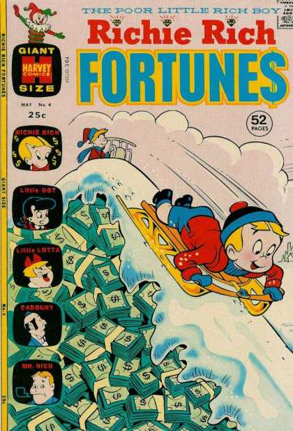 Richie Rich Fortunes 4 - The Poor Little Rich Boy - Giant Size Havery Comics - May No 4 - Sledding - Snow