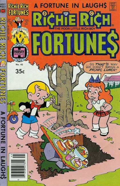 Richie Rich Fortunes 45 - Boy - Girl - Food - Tree - Hole