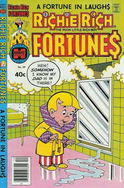 Richie Rich Fortunes 49 - Poor Little Rich Boy - Shower - Bathroom - Gold - Bathrobe