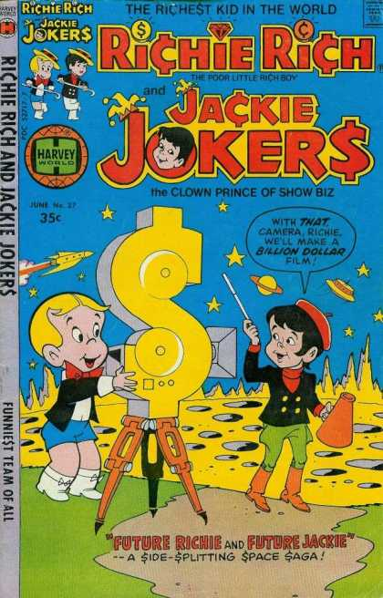 Richie Rich & Jackie Jokers 27 - Harvey World - Speech Bubble - Dollar Sign - Rocket - Moon