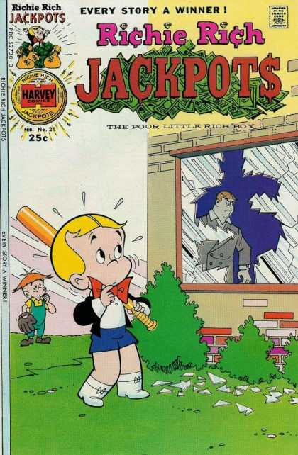 Richie Rich Jackpots 21 - Broken Window - Baseball Bat - Baseball Glove - Father - Harvey
