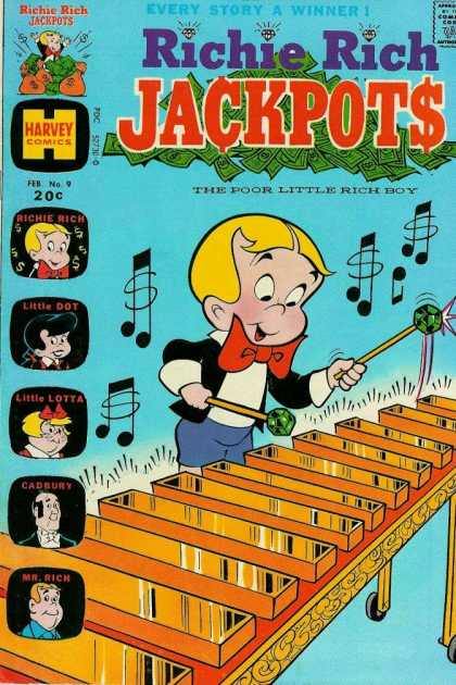 Richie Rich Jackpots 9 - Every Story A Winner - The Poor Little Rich Boy - Harvey Comics - Little Lotta - Cadbury