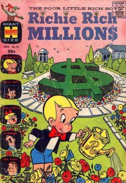 Richie Rich Millions 13 - Bench - Trees - House - Dollar Sign - Watering Can