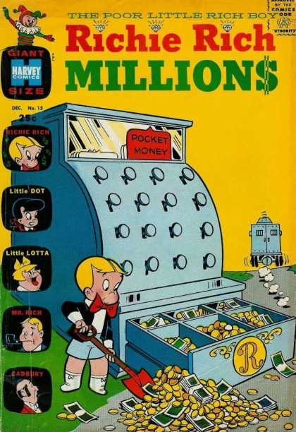 Richie Rich Millions 15 - Little Dot - Money - Cash Register - Little Lotta - Butler