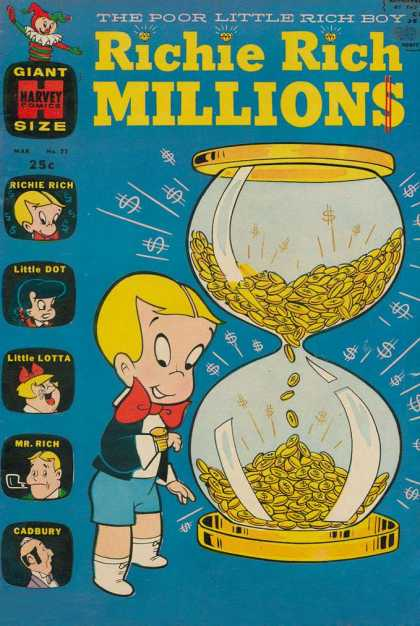 Richie Rich Millions 22 - Hourglass - Coins - Bowtie - Money - Wristwatch