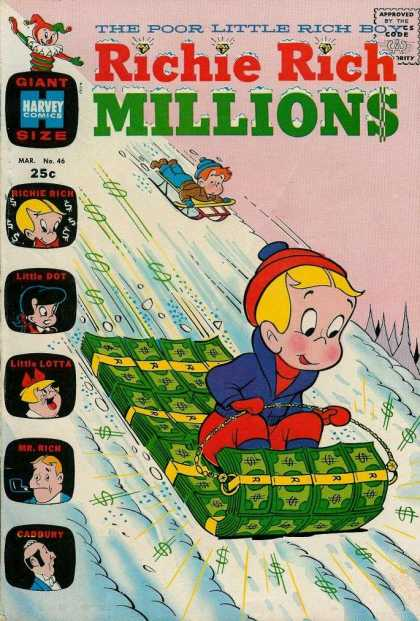 Richie Rich Millions 46 - The Poor Little Rich Boy - Harvey Comics - Richie Rich - Little Dot - Sledding