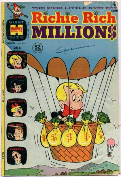 Richie Rich Millions 58 - Harvey Comics - Jack In The Box - Poor Little Rich Boy - Hot Air Balloon - Money Bags