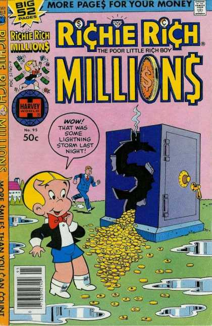 Richie Rich Millions 95 - More Pages For Your Money - Big 52 Pages - Harvey World - Wow That Was Some Lightning Storm Last Night - The Poor Little Rich Boy