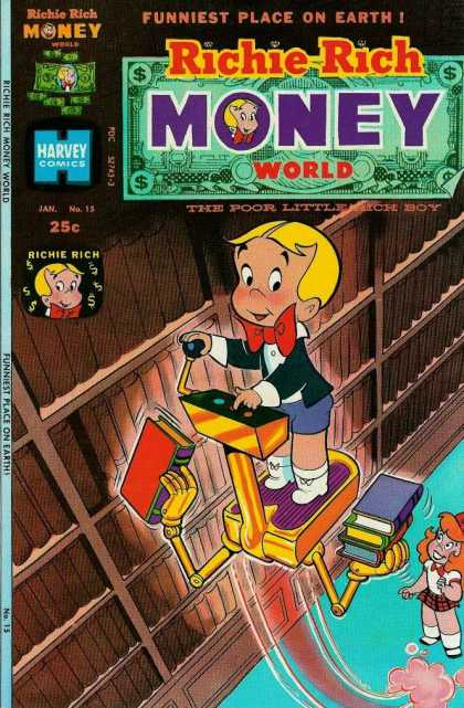 Richie Rich Money World 15 - Money World - Funniest Place On Earth - Poor Little Rich Boy - Harvey Comics - Library