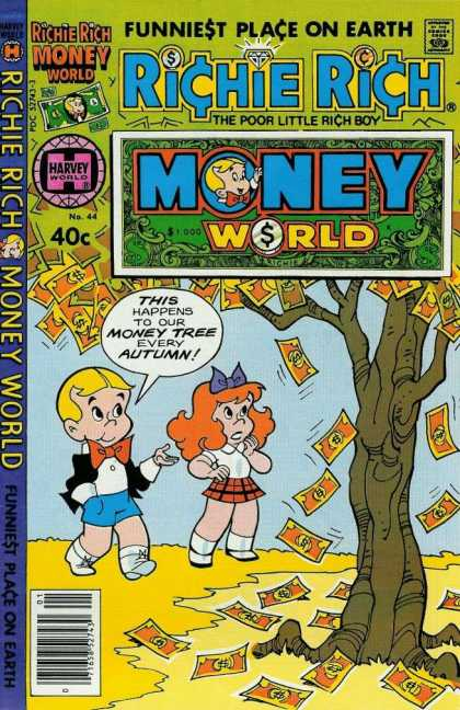 Richie Rich Money World 44 - Autumn - Money Falling - Funniest Place On Earth - Orange Hair Girl - Red Bow Tie