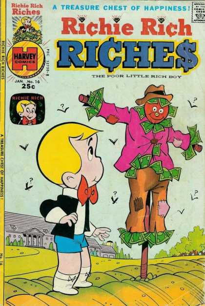 Richie Rich Riches 16 - No 16 - Scarecrow - Mansion - Field - Crows