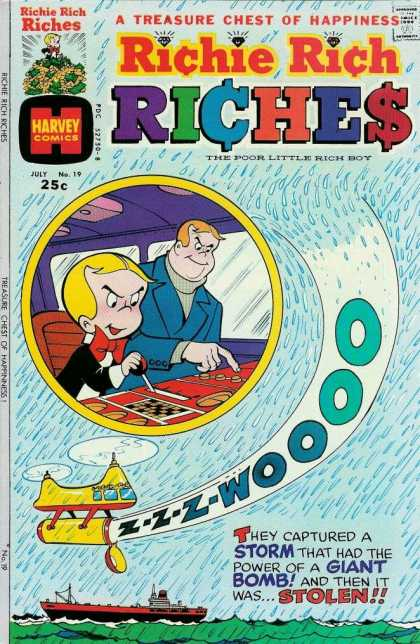 Richie Rich Riches 19 - Richie Rich - Dad - Harvey Comics - Helicopter - Yacht