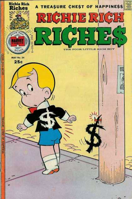 Richie Rich Riches 24 - A Treasure Chest Of Happiness - Harvey Comics - Money - Boy - The Poor Little Rich Boy