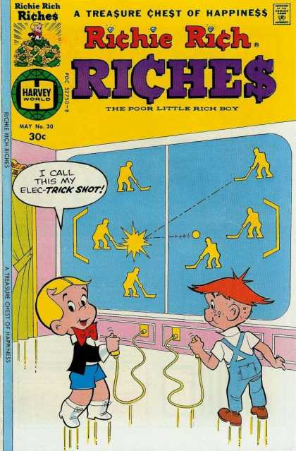 Richie Rich Riches 30 - Awesome Big Screen - Short Shorts - Single Button Joystick - 2d Hockey Game - Kids Playing Game
