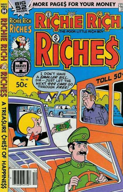 Richie Rich Riches 45 - Big 52 Pages - The Poor Little Rich Boy - More Pages For Your Money - Harvey World - A Treasure Chest Of Happiness