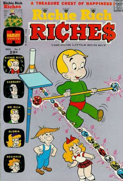 Richie Rich Riches 9 - Treasure Chest Of Happiness - Tightrope Walking - Jewels - Nov No 9 - The Poor Little Rich Boy