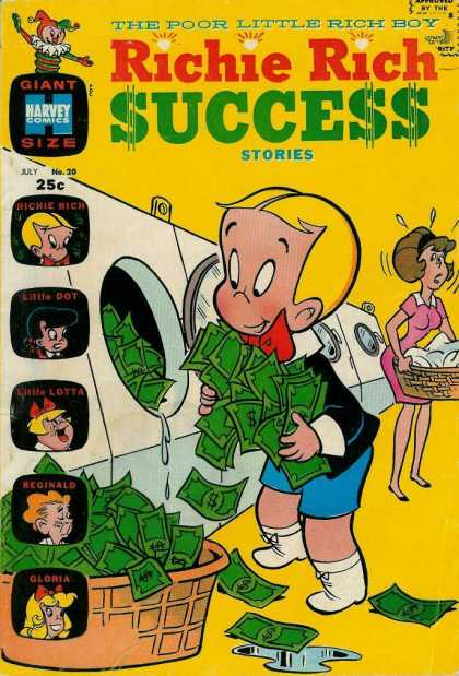 Richie Rich Success Stories 20 - The Poor Little Rich Boy - Giant Size - July No20 - Laundry Money - Basket Of Money