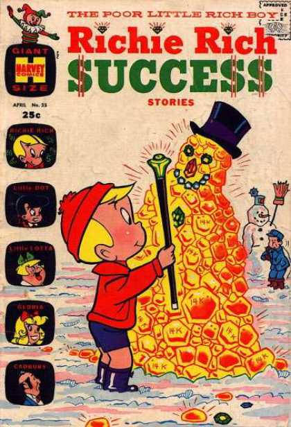 Richie Rich Success Stories 25 - Comics Code - The Poor Little Rich Boy - Gold - Harvey Comics - Gloria