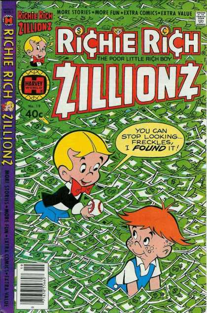 Richie Rich Zillionz 19 - Dollar Bills - Freckles - Baseball - Red Hair - Bowtie