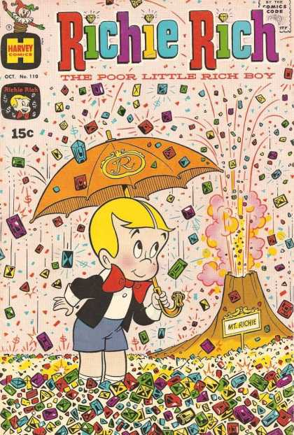 Richie Rich 110 - Volcano Spitting Jewels - Umbrella With R On It - Richie - Poor Little Rich Boy - Rich