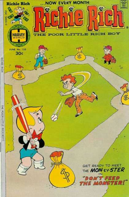 Richie Rich 155 - Money - Poor Little Rich Boy - Baseball - Mon-ey-ster - Dont Feed The Monster