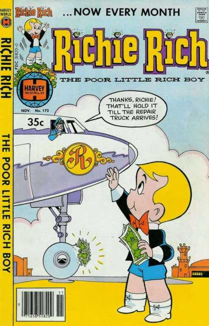 Richie Rich 172 - Classic - Harvey World - Money - Monthly - Airplane