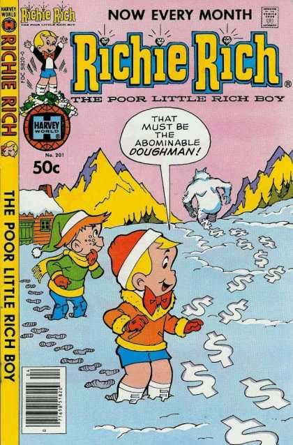 Richie Rich 201 - Harvey World Comics - Richie Rich - Abominable Doughman - The Poor Little Rich Boy - No 201