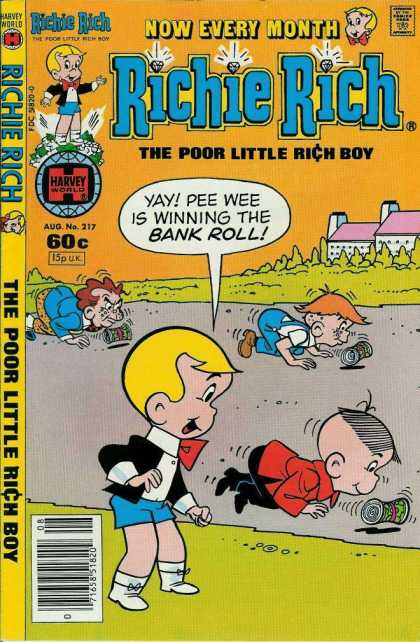 Richie Rich 217 - Harvey World - Poor Little Rich Boy - Classic Character - Kids Comic - Rolling Cans