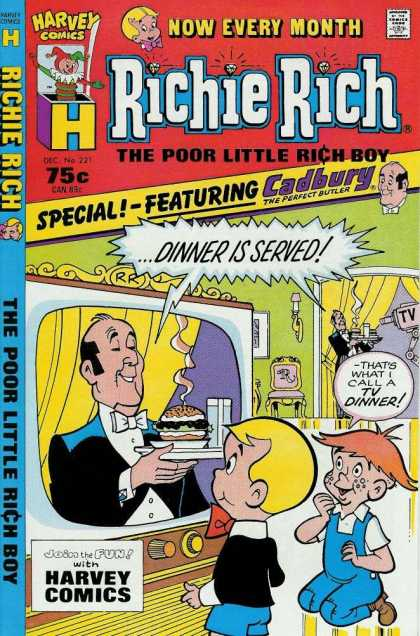 Richie Rich 221 - Now Every Month - Harvey Comics - Special-featuring Cadbury - Dinner Is Served - Boy