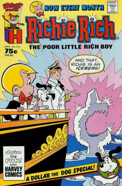 Richie Rich 225 - Harvey Comics - 75c Can89c - Aprill No225 - A Dollar The Dog Special - The Poor Little Rich Boy