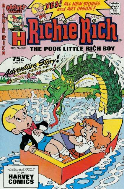 Richie Rich 230 - Richie Meets The Curren Sea Monster - Green Dragon - Boat With Girl - Boat On Water - Sept No 230