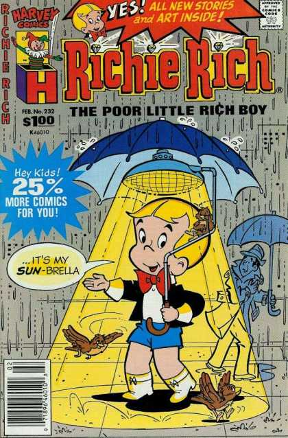 Richie Rich 232 - The Poor Little Rich Boy - Umbrella - Sun-brella - Rain - Birds