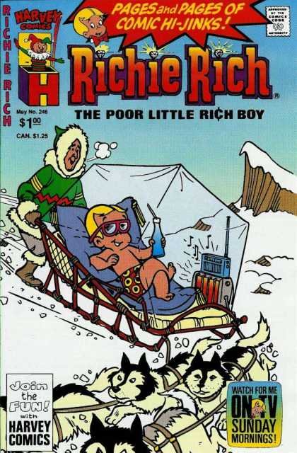 Richie Rich 246 - May Issue - Heater - Soda - Dog Sled - Sunday Morning Cartoon