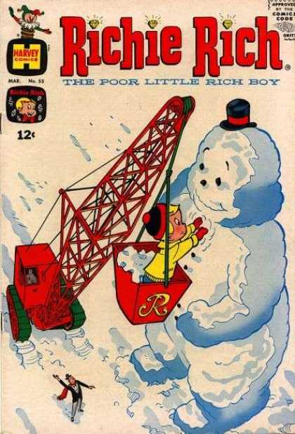 Richie Rich 55 - Snowman - Crane - Butler - Top Hat - Red Mittens