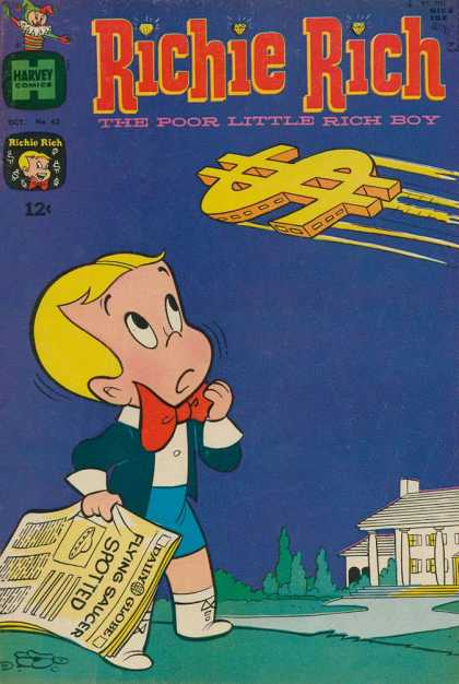 Richie Rich 62 - Harvey Comics - The Poor Little Rich Boy - 12 Cents - Flying Saucer Spotted - Newspaper