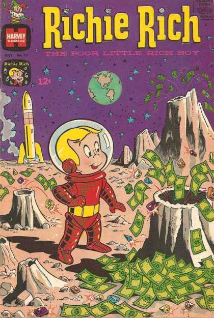 Richie Rich 71 - The Poor Little Rich Boy - Earth - Space - Volcano - Astronaut