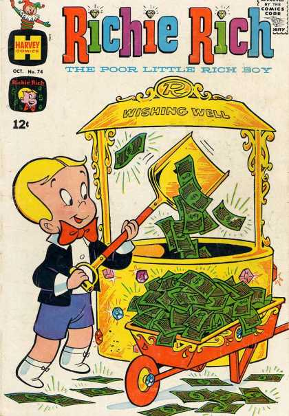 Richie Rich 74 - October Issue - Dumping Money Into Wishing Well - Diamond Encrusted Wheelbarrow - Golden Shovel - Gem Encrusted Wishing Well