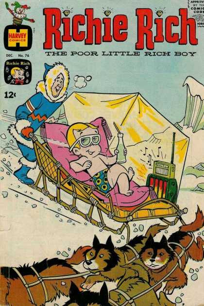 Richie Rich 76 - Dogs - One Little Boy - One Old Women - In The Ice - Harvey Comics