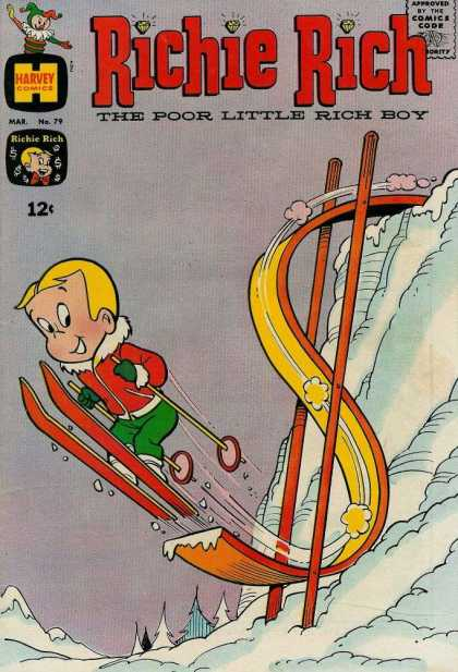 Richie Rich 79 - Harvey Comics - The Poor Little Rich Boy - Snow - Ski - Green Pants