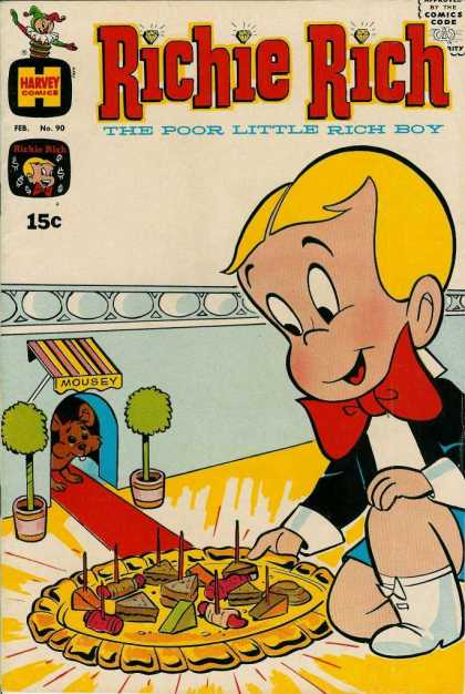 Richie Rich 90 - Approved By The Comics Code - Harvey Comics - Boy - Mousey - Food