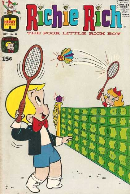Richie Rich 98 - Poor Little Rich Boy - Harvey Comics - Jack In The Box - Tennis - Racket