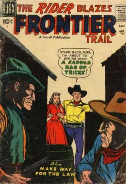 Rider 5 - Frontier Trial - Saddle Bag Of Tricks - A Forrel Publication - Make Way For The Law - Lady And Three Men