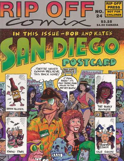 Rip Off Comix 24 - San Diego - Post Card - The Surly Hooker - Demon Alchol - Porno Comix