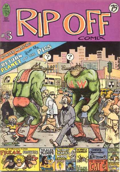 Rip Off Comix 3 - Plante Of The Pigs - Crowd - Walking - Freak Brothers - Cat