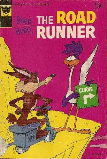 Road Runner 29 - Beep - Coyote - Curve - Sign - Rock